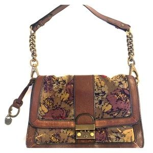 Fossil leather and velvet purse